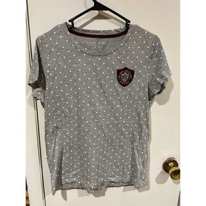 Aero Grey Dotted Maroon Logo Patch Short Sleeve